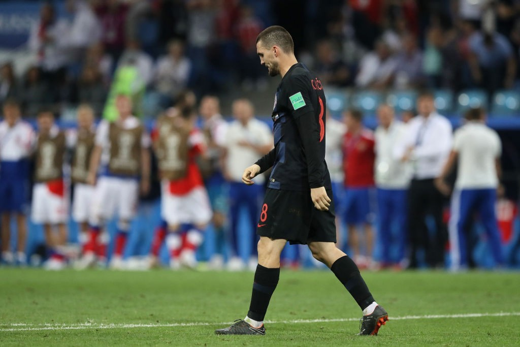 SOCHI, RUSSIA - JULY 07: Mateo Kovacic of Croatia looks dejected after he misses his team's second penalty in the penalty shoot out during the 2018 FIFA World Cup Russia Quarter Final match between Russia and Croatia at Fisht Stadium on July 7, 2018 in Sochi, Russia. (Photo by Kevin C. Cox/Getty Images)