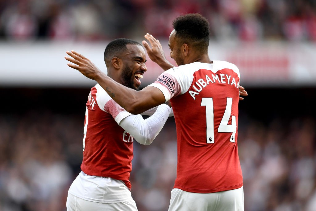 Despite the great chemistry between Aubameyang and Lacazette in the dressing room, the Gabonese could be the reason why Lacazette would want to leave Arsenal. (Photo courtesy: AFP/Getty)