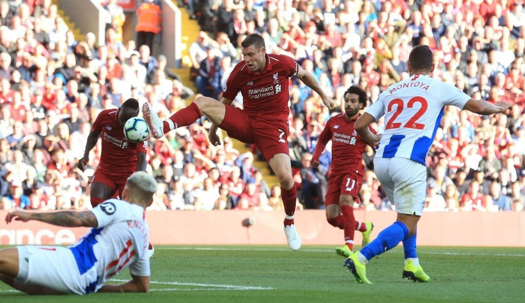 Assertive display from Milner (Photo by LINDSEY PARNABY/AFP/Getty Images)