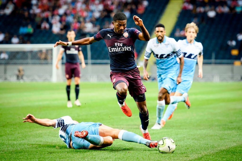 Ainsley Maitland-Niles is likely to start at left-back against Manchester City. (Photo courtesy: AFP/Getty)