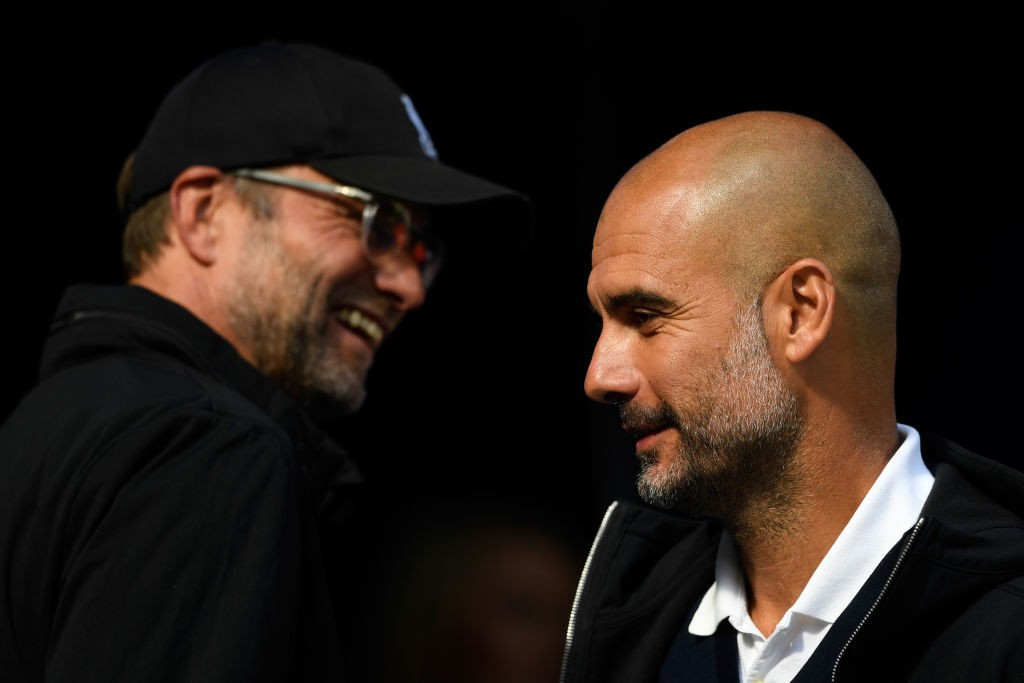 Pep Guardiola tips Jurgen Klopp's Liverpool to retain the title (Photo by Stu Forster/Getty Images)