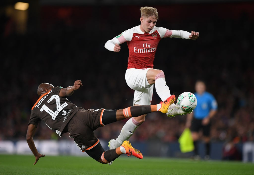 Emile Smith Rowe was impressive on his full debut for Arsenal. (Photo courtesy: AFP/Getty)