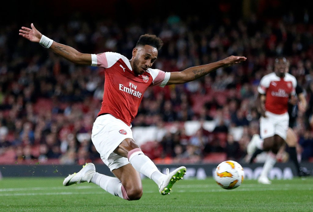 Aubameyang scored two goals to cap off a brilliant display for Arsenal. (Photo Courtesy: AFP/Getty)