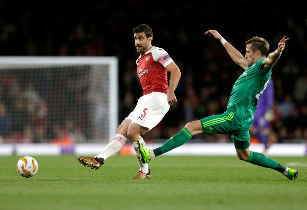 Sokratis had his best game in an Arsenal shirt so far this season, marshalling the defence well. (Photo courtesy: AFP/Getty)