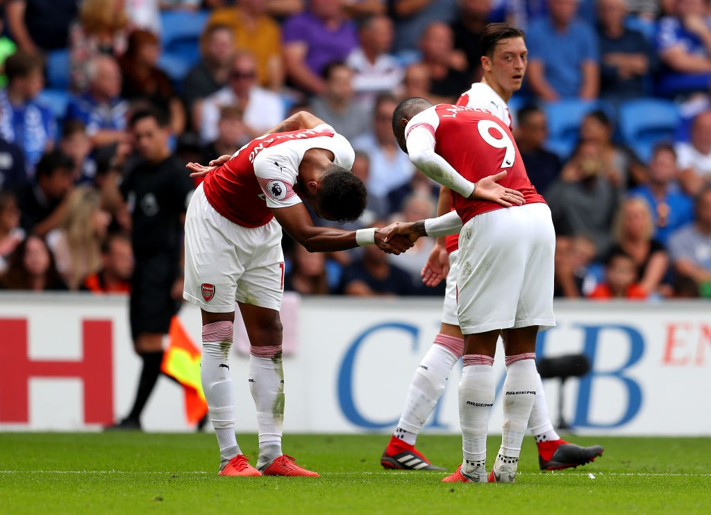As expected, the Alexandre Lacazette - Pierre-Emerick Aubameyang partnership worked well as both forwards scored against Cardiff City. (Photo courtesy: AFP/Getty)