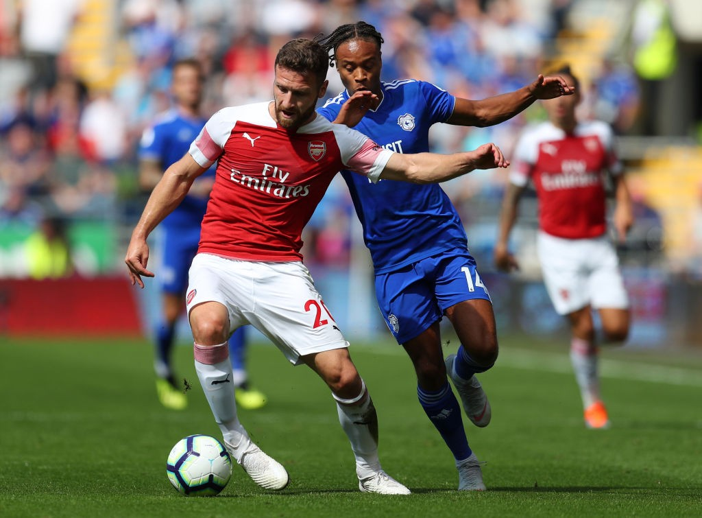 Mustafi was among the scoreres against Cardiff City after giving Arsenal the lead early on with a thumping header. (Photo courtesy: AFP/Getty)