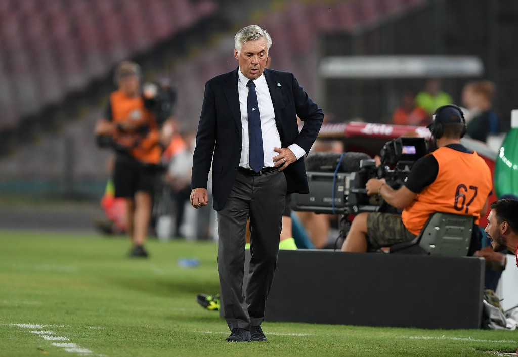 NAPLES, ITALY - AUGUST 25: Coach of SSC Napoli Carlo Ancelotti during the serie A match between SSC Napoli and AC Milan at Stadio San Paolo on August 25, 2018 in Naples, Italy. (Photo by Francesco Pecoraro/Getty Images)