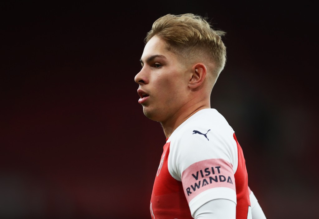 LONDON, ENGLAND - AUGUST 31: Emile Smith Rowe of Arsenal looks on during the Premier League 2 match between Arsenal and Tottenham Hotspur at Emirates Stadium on August 31, 2018 in London, England. (Photo by Naomi Baker/Getty Images)