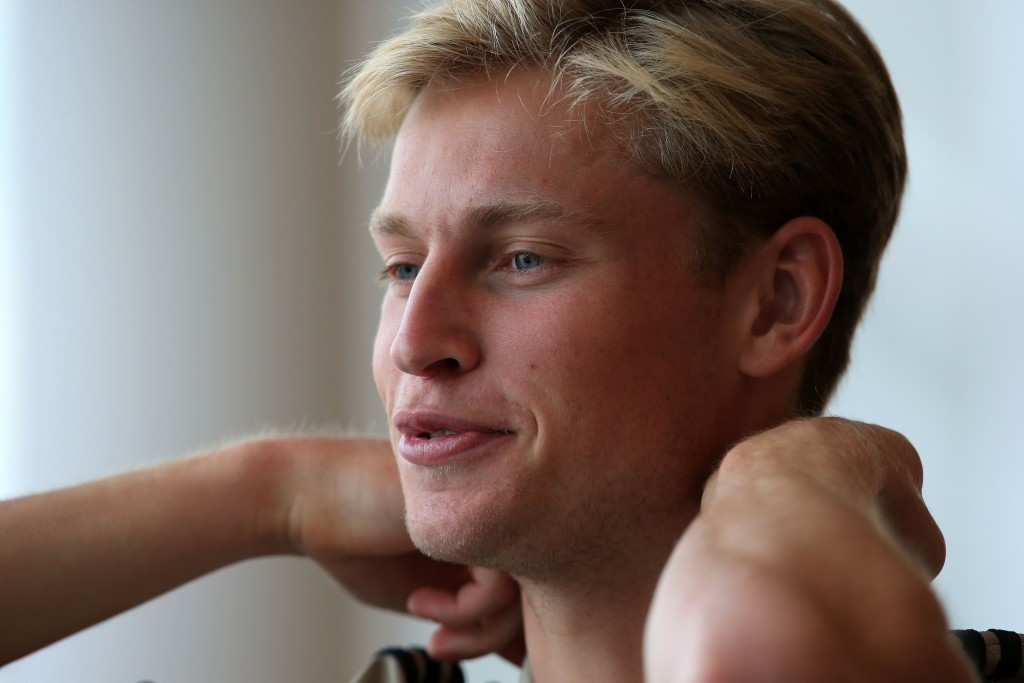 Frenkie de Jong of Ajax speaks to media during a press one-to-one conference at Saint George's Park National Football Centre in Staffordshire, England on 18th July 2018. Ajax play British team Wolverhampton Wanderers in a pre-season friendly soccer match on Wednesday. (Photo by Lindsey Parnaby / AFP) (Photo credit should read LINDSEY PARNABY/AFP/Getty Images)