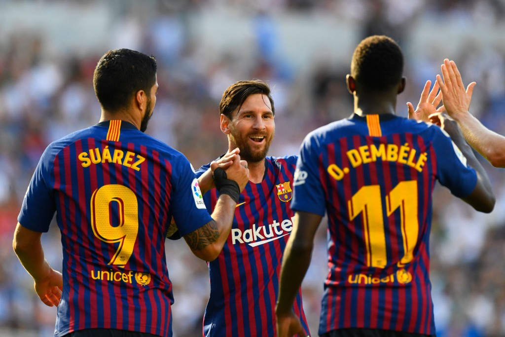 Suarez and Dembele scored, while Messi had an off day (Photo by GABRIEL BOUYS/AFP/Getty Images)