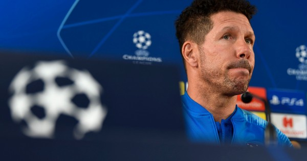 Atletico Madrid's Argentinian coach Diego Simeone looks on during a press conference at the Louis II stadium in Monaco on September 17, 2018, on the eve of the UEFA Champions League football match between Monaco and Atletico Madrid. (Photo by CHRISTOPHE SIMON / AFP)        (Photo credit should read CHRISTOPHE SIMON/AFP/Getty Images)