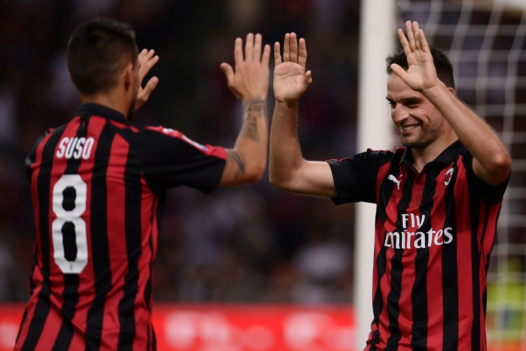 Suso and Bonaventura impressed for Milan (Photo by MARCO BERTORELLO/AFP/Getty Images)