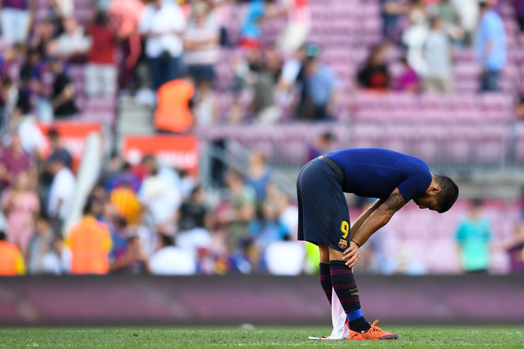 Suarez has cut a frustrated figure for Barcelona in recent times. (Photo by David Ramos/Getty Images)
