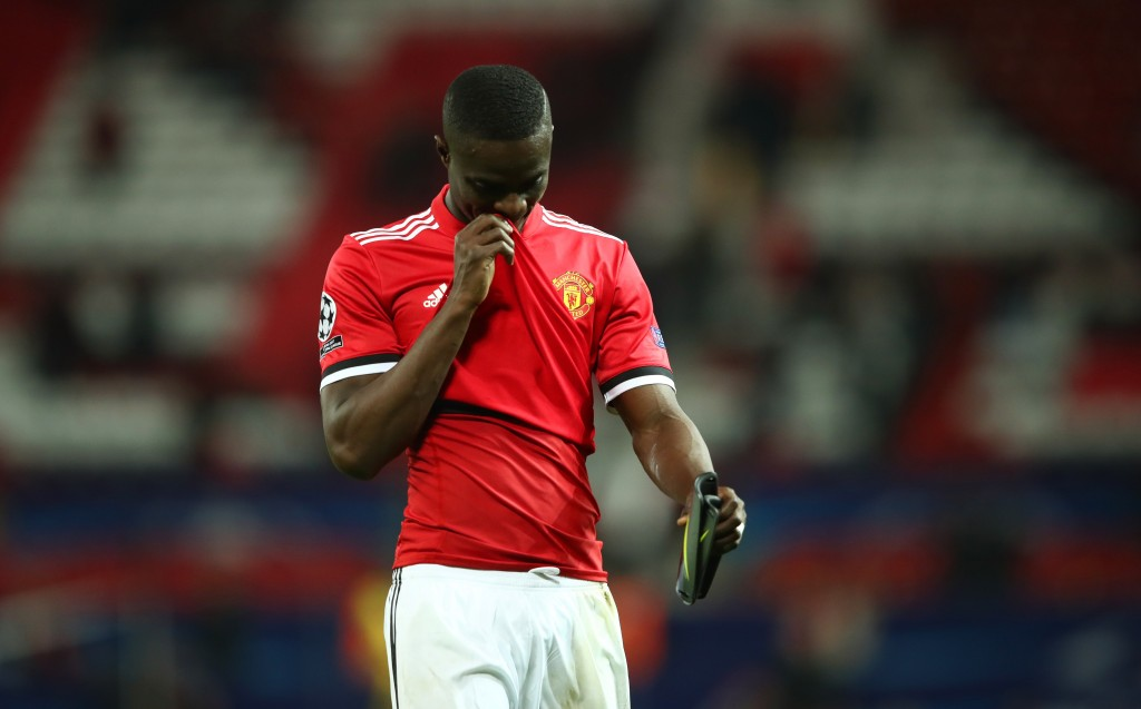 MANCHESTER, ENGLAND - MARCH 13: Eric Bailly of Manchester United looks dejected in defeat after the UEFA Champions League Round of 16 Second Leg match between Manchester United and Sevilla FC at Old Trafford on March 13, 2018 in Manchester, United Kingdom. (Photo by Clive Mason/Getty Images)
