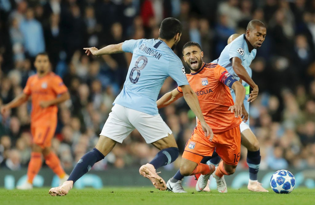 Fernandinho and Ilkay Gundogan could not have an impact in midfield against Lyon. (Photo courtesy: AFP/Getty)