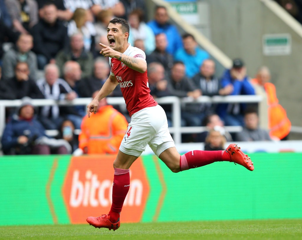 Granit Xhaka after scoring a stunning free kick against Newcastle United. (Photo courtesy: AFP/Getty)