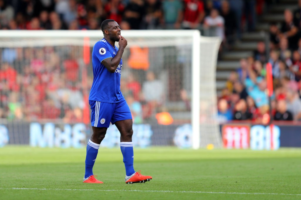 Wes Morgan is suspended for Leicester City after his red card against Everton on the last match day. (Photo courtesy: AFP/Getty)