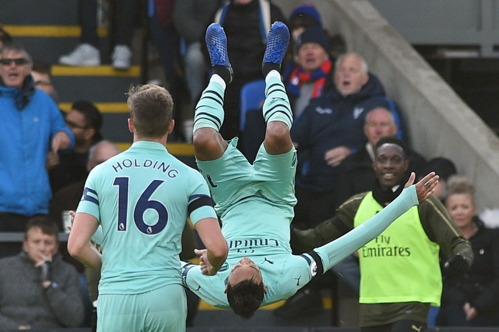 Aubameyang celebrates after scoring Arsenal's second goal against Crystal Palace. (Photo courtesy: AFP/Getty)