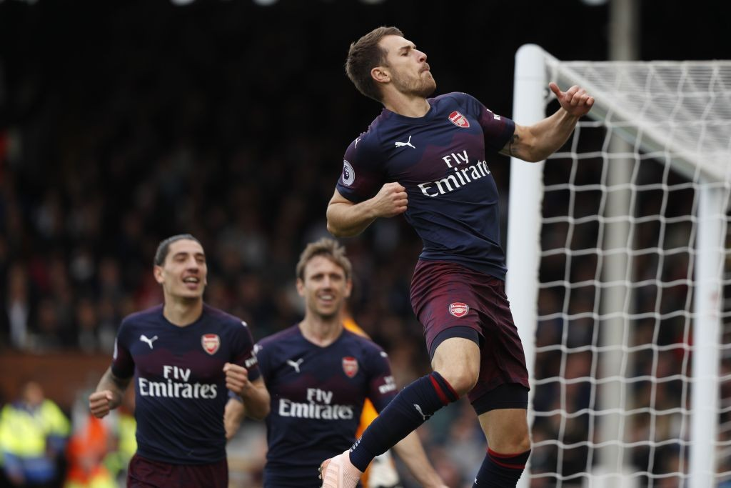 Aaron Ramsey celebrating after scoring a sensational goal against Fulham. (Photo courtesy: AFP/Getty)