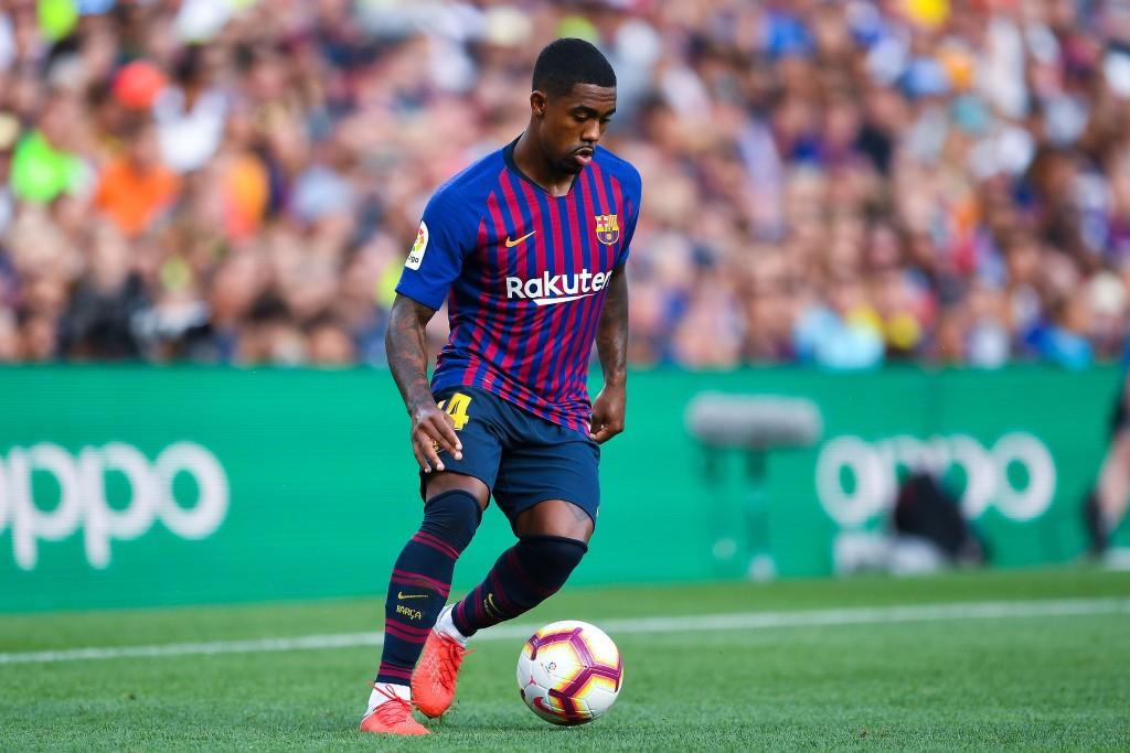 BARCELONA, SPAIN - AUGUST 15: Malcom of FC Barcelona runs with the ball during the Joan Gamper Trophy match between FC Barcelona and Boca Juniors at Camp Nou on August 15, 2018 in Barcelona, Spain. (Photo by David Ramos/Getty Images)