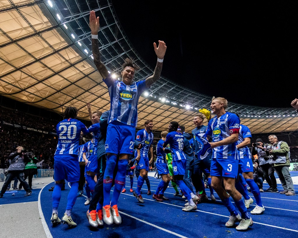 A spirited Hertha record the biggest upset of the season. (Photo by Boris Streubel/Bongarts/Getty Images)