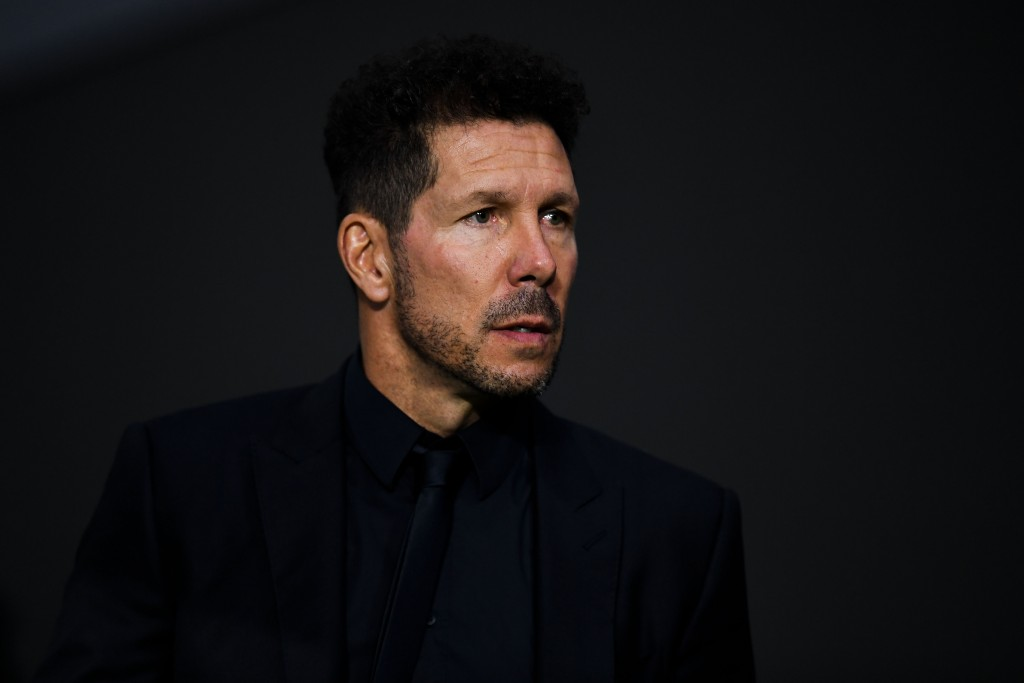 MADRID, SPAIN - OCTOBER 03: Head coach Diego Pablo Simeone of Club Atletico de Madrid looks on prior to the Group A match of the UEFA Champions League between Club Atletico de Madrid and Club Brugge at Estadio Wanda Metropolitano on October 3, 2018 in Madrid, Spain. (Photo by David Ramos/Getty Images)