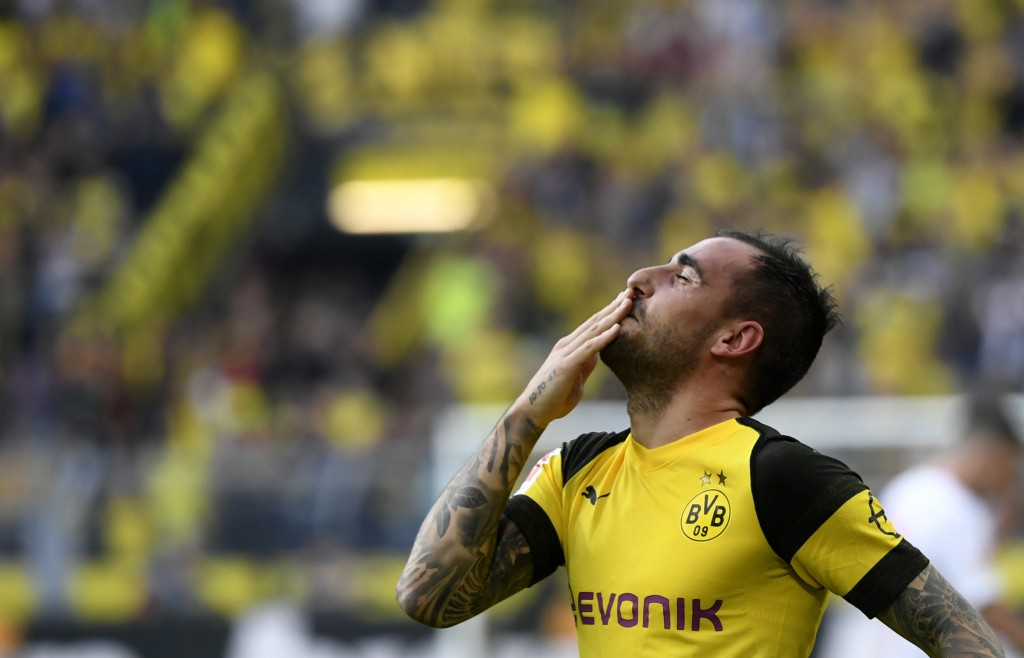 Alcacer strikes yet again! (Photo by Ina Fassbender/AFP/Getty Images)