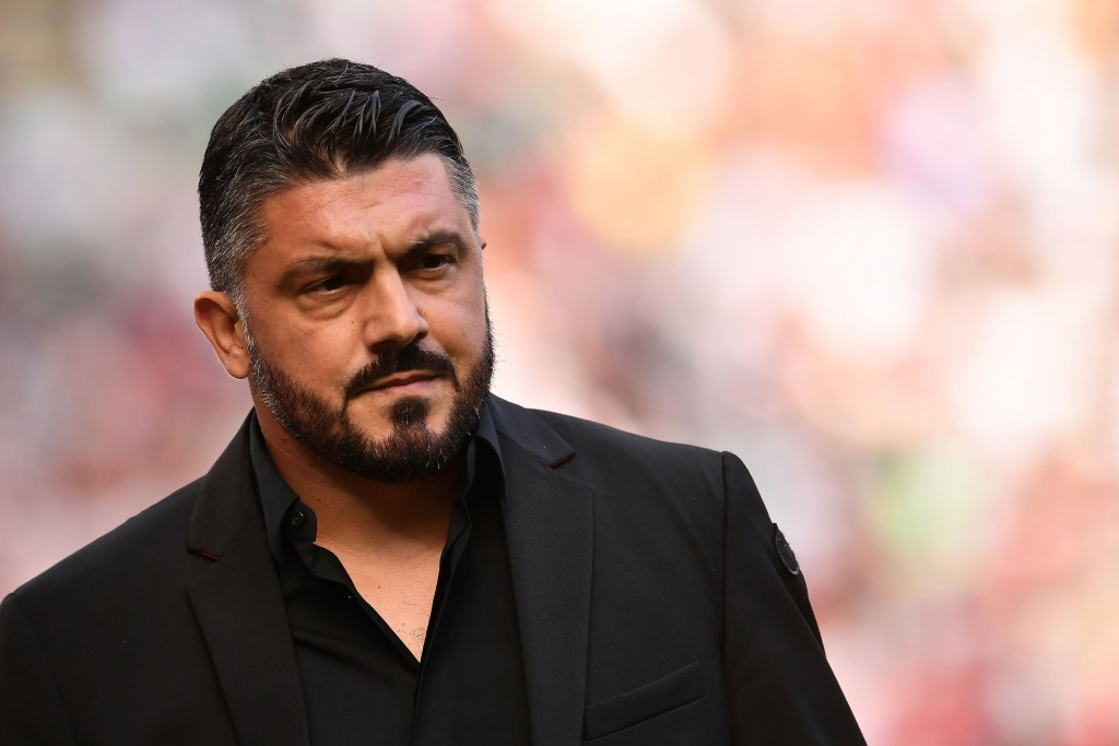 AC Milan's Italian coach Gennaro Gattuso looks on ahead of the Italian Serie A football match between AC Milan and Chievo Verona at The 'Giuseppe Meazza Stadium' in Milan on October 7, 2018. (Photo by MARCO BERTORELLO / AFP) (Photo credit should read MARCO BERTORELLO/AFP/Getty Images)