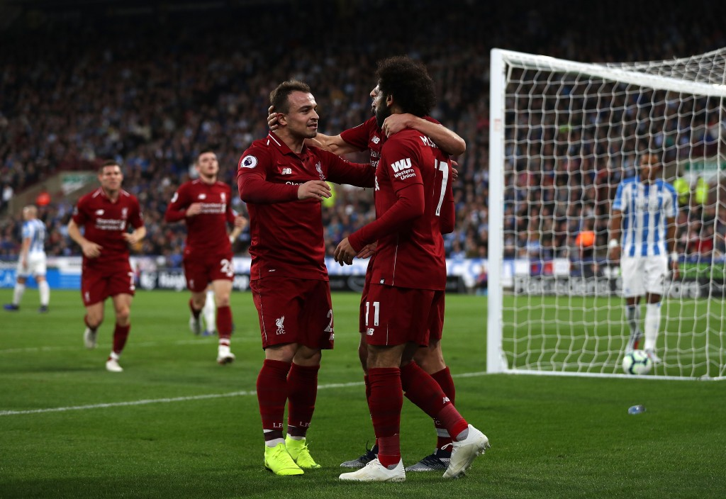 Shaqiri and Salah combined for the goal (Photo by Mark Robinson/Getty Images)