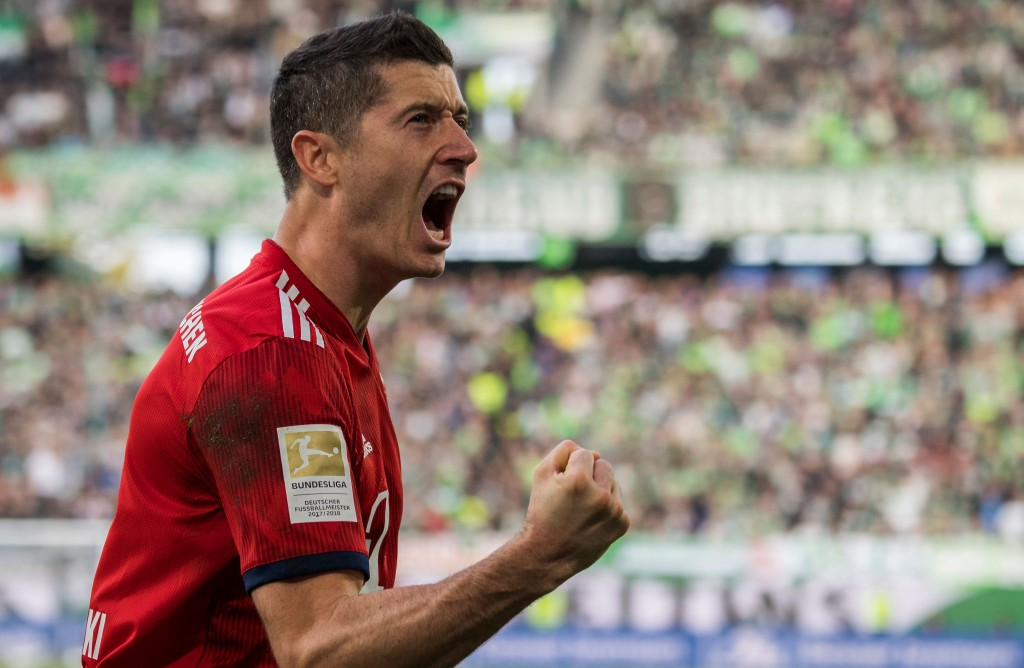 Lewandowski extended his excellent record against Wolves. (Photo by John MacDougall/AFP/Getty Images)