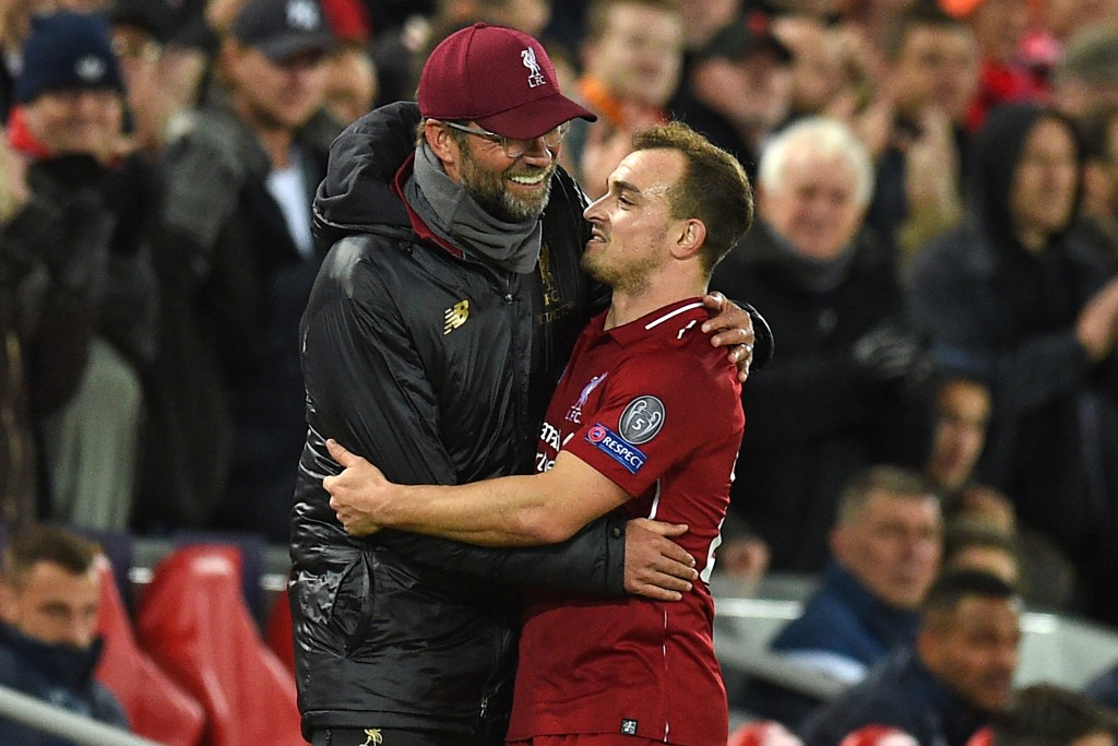 Shaqiri runs the show for Liverpool (Photo by OLI SCARFF/AFP/Getty Images)