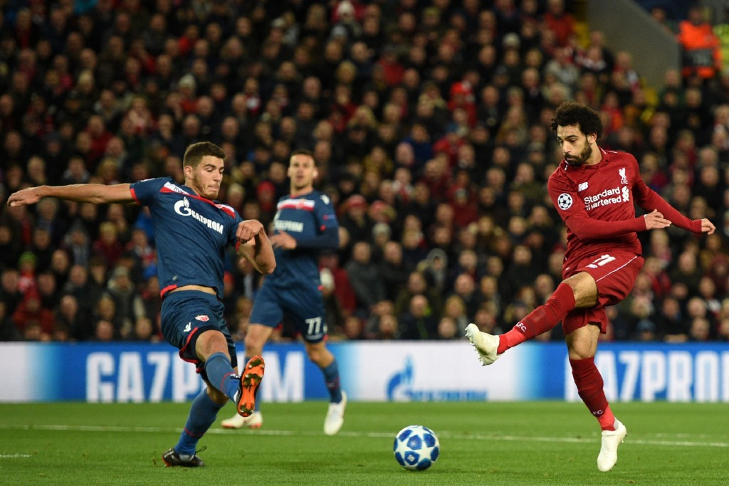 Salah hit the 50-goal landmark for Liverpool (Photo by OLI SCARFF/AFP/Getty Images)
