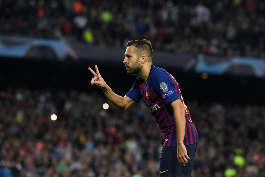 Will Manchester United be victorious in pursuit of Jordi Alba? (Photo by David Ramos/Getty Images)