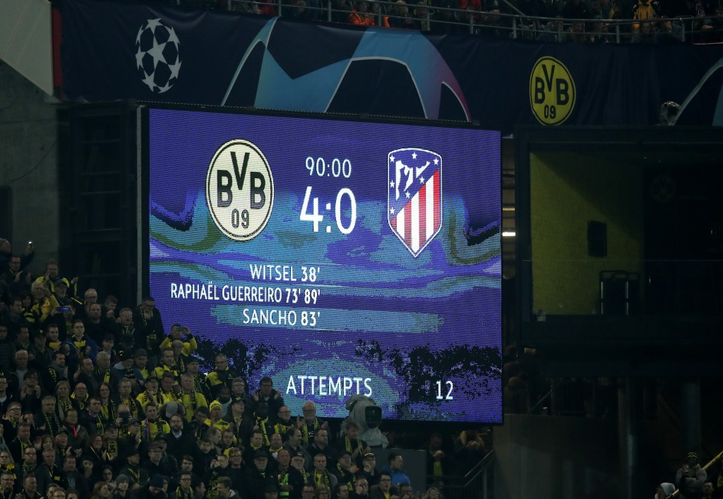 Borussia Dortmund are coming on the back of a midweek desturction of Atletico Madrid. (Photo by Christof Koepsel/Bongarts/Getty Images)