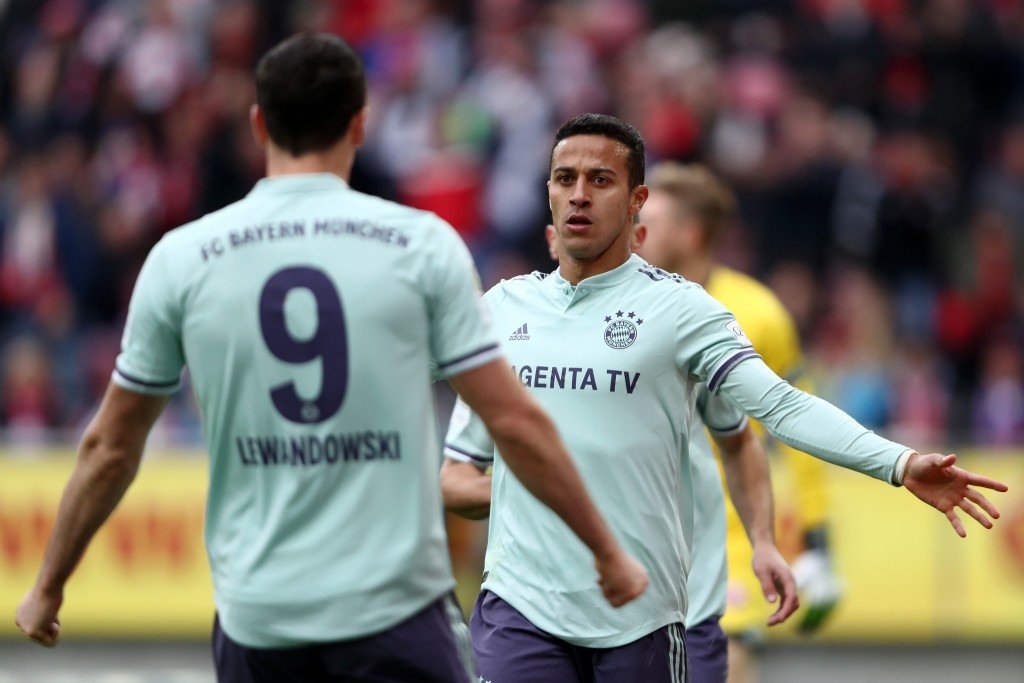 Thiago and Lewandowski impressed in Bayern's narrow win over Mainz. (Photo by Alex Grimm/Bongarts/Getty Images)