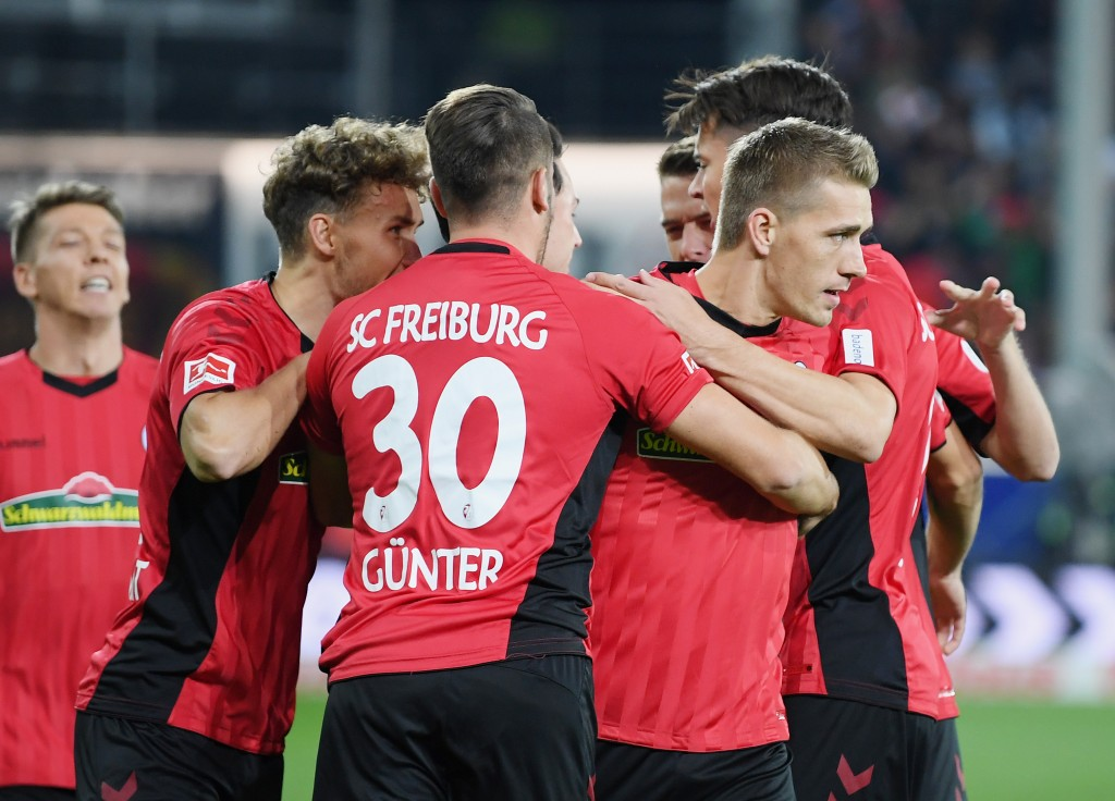 A collective performance from Freiburg. (Photo by Matthias Hangst/Bongarts/Getty Images)