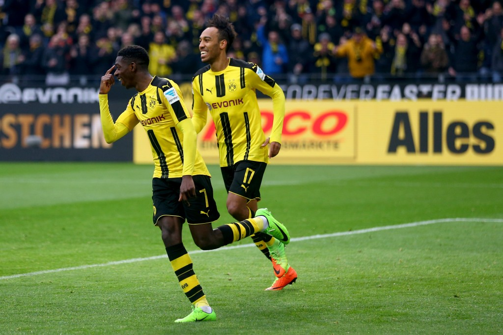 Dembele's exploits alongside Aubameyang at Borussia Dortmund could be enough to convince Arsenal to make a move. (Photo by Christof Koepsel/Bongarts/Getty Images)