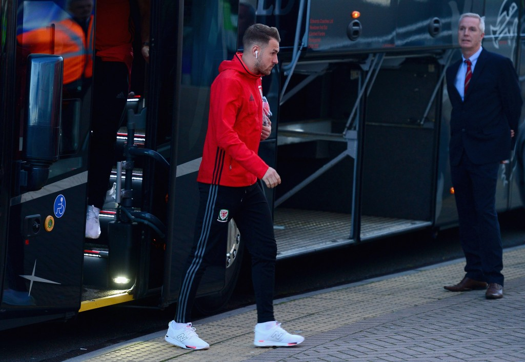 CARDIFF, UNITED KINGDOM - OCTOBER 09: Aaron Ramsey of Wales arrives prior to the FIFA 2018 World Cup Group D Qualifier between Wales and Republic of Ireland at the Cardiff City Stadium on October 9, 2017 in Cardiff, Wales. (Photo by Harry Trump/Getty Images)