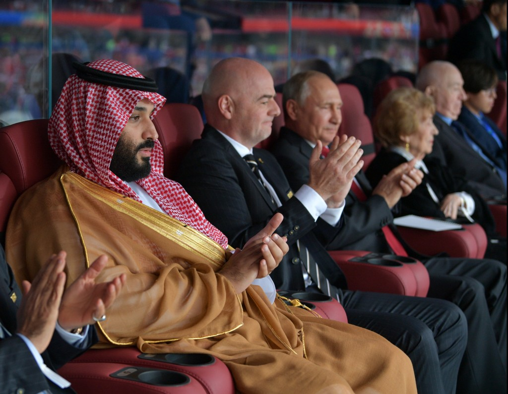 Saudi Crown Prince Mohammed bin Salman (L) - next Manchester United owner? (Photo by ALEXEY DRUZHININ/AFP/Getty Images)