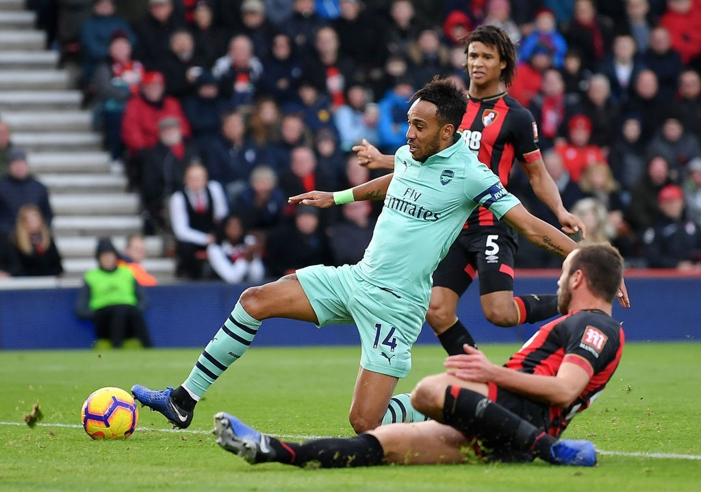 Aubameyang's second half strike settled the scores for Arsenal. (Photo by Dan Mullan/Getty Images)