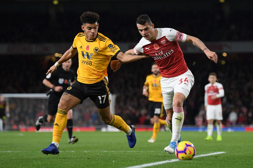 Xhaka was responsible for gifting Wolves their opening goal. (Photo courtesy: AFP/Getty)