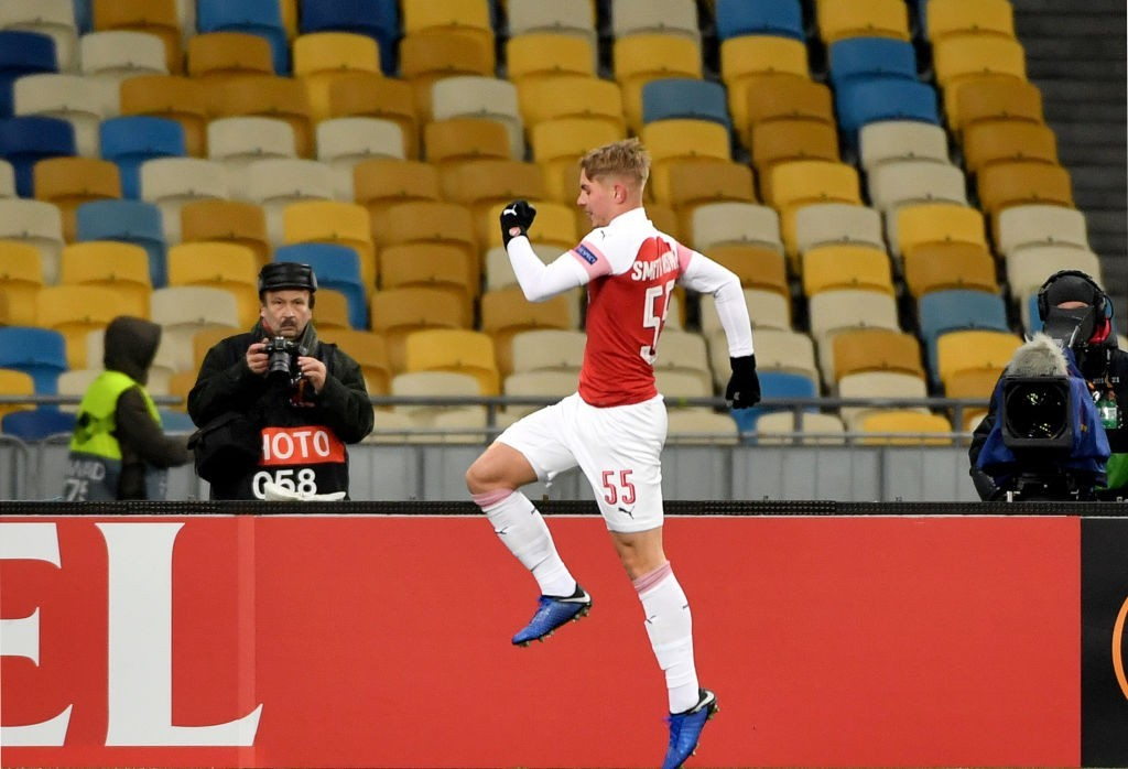 Emile Smith Rowe scores his third senior goal for Arsenal. (Photo by Sergei Supinsky/AFP/Getty)