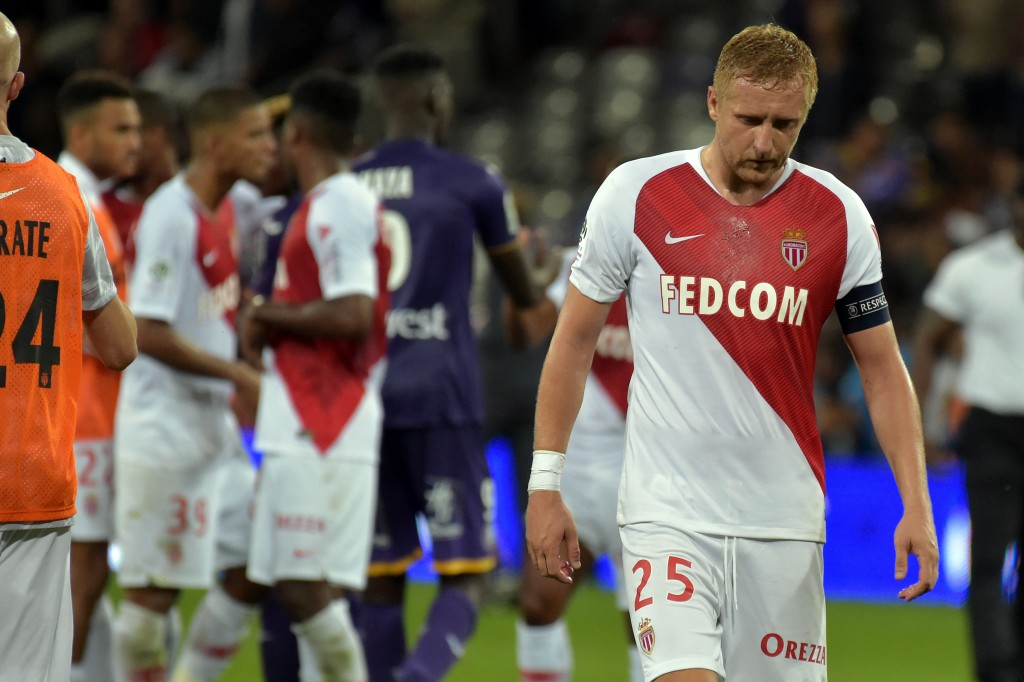 Monaco's Polish defender Kamil Glik reacts at the end of the French L1 football match between Toulouse and Monaco on September 15, 2018 at the Municipal Stadium in Toulouse, southern France. (Photo by PASCAL PAVANI / AFP) (Photo credit should read PASCAL PAVANI/AFP/Getty Images)