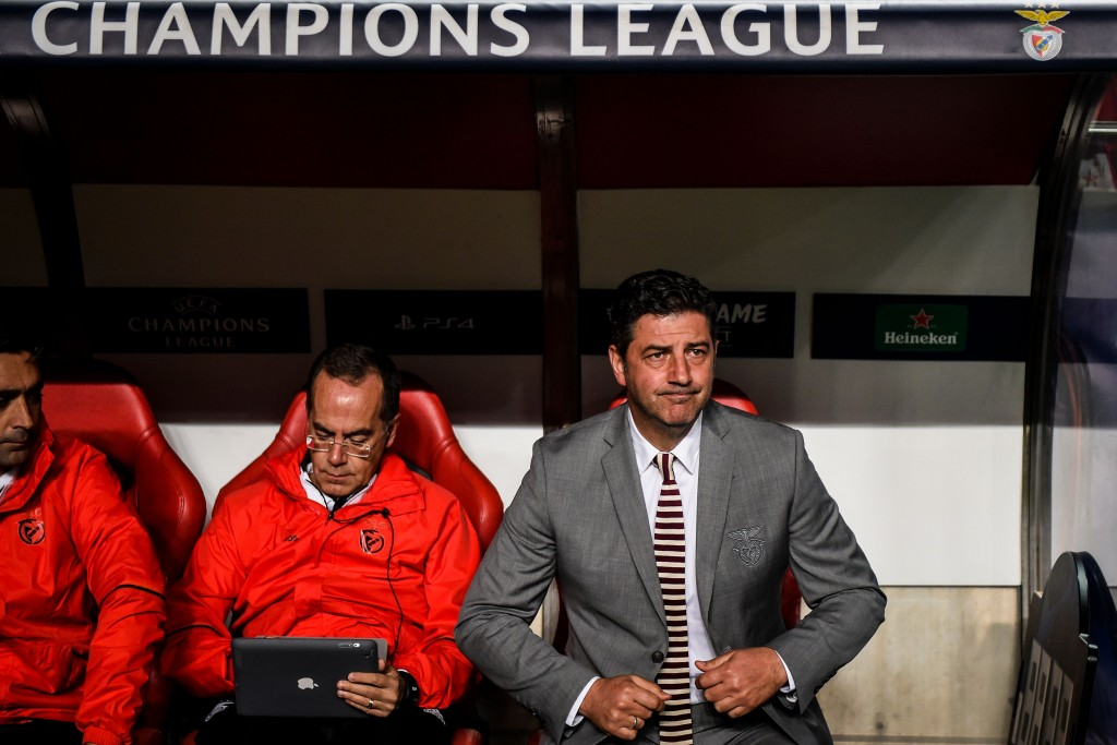Benfica's Portuguese coach Rui Vitoria (R) takes his seat during the UEFA Champions League group E football match between Benfica and Ajax at La Luz Stadium in Lisbon on November 7, 2018. (Photo by PATRICIA DE MELO MOREIRA / AFP) (Photo credit should read PATRICIA DE MELO MOREIRA/AFP/Getty Images)