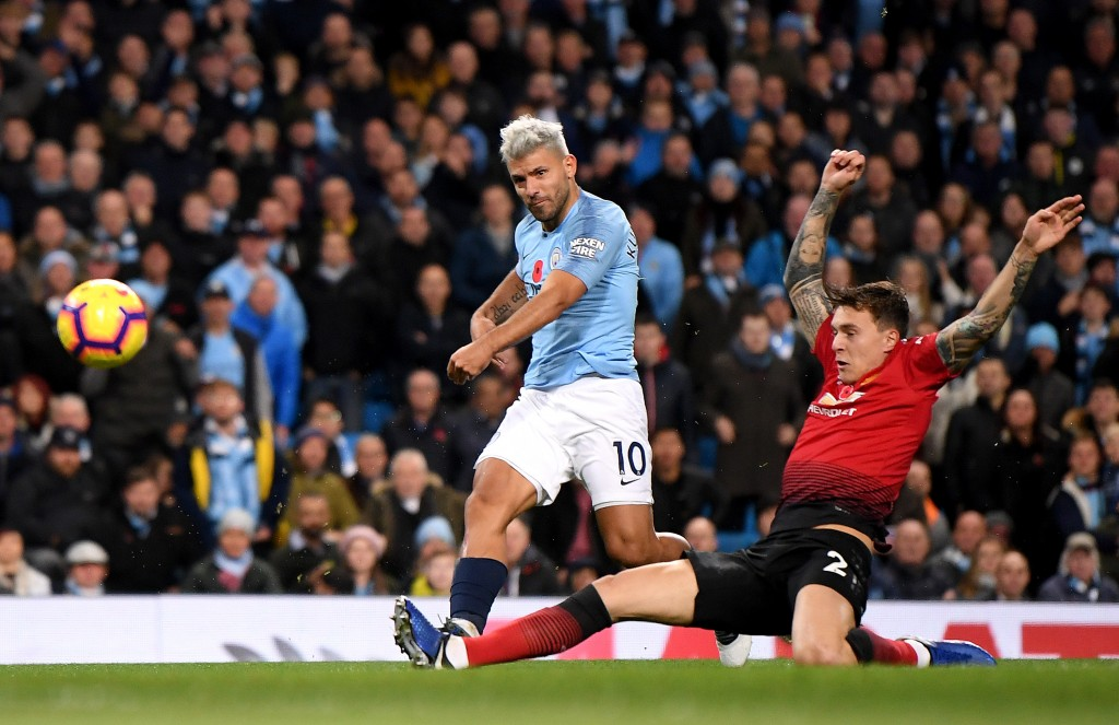 Aguero will be the man to watch as he aims to remain on top of the Premier League scoring charts. (Photo by Laurence Griffiths/Getty Images)