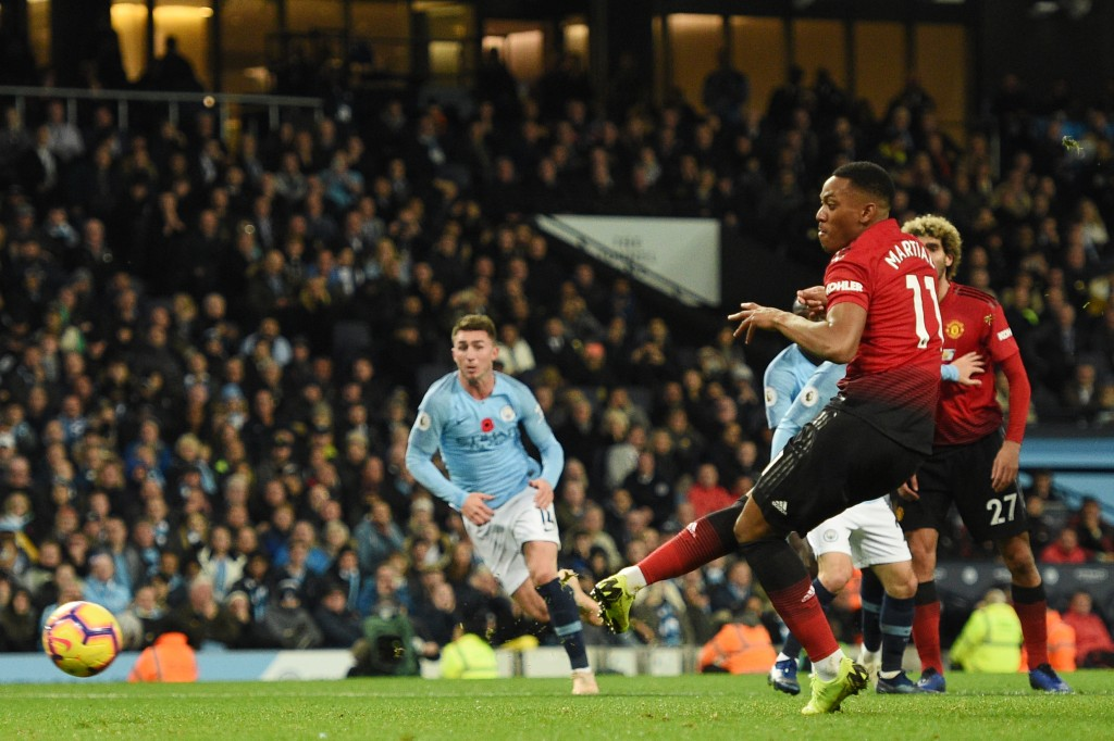 Martial on the scoresheet again (Photo by OLI SCARFF/AFP/Getty Images)