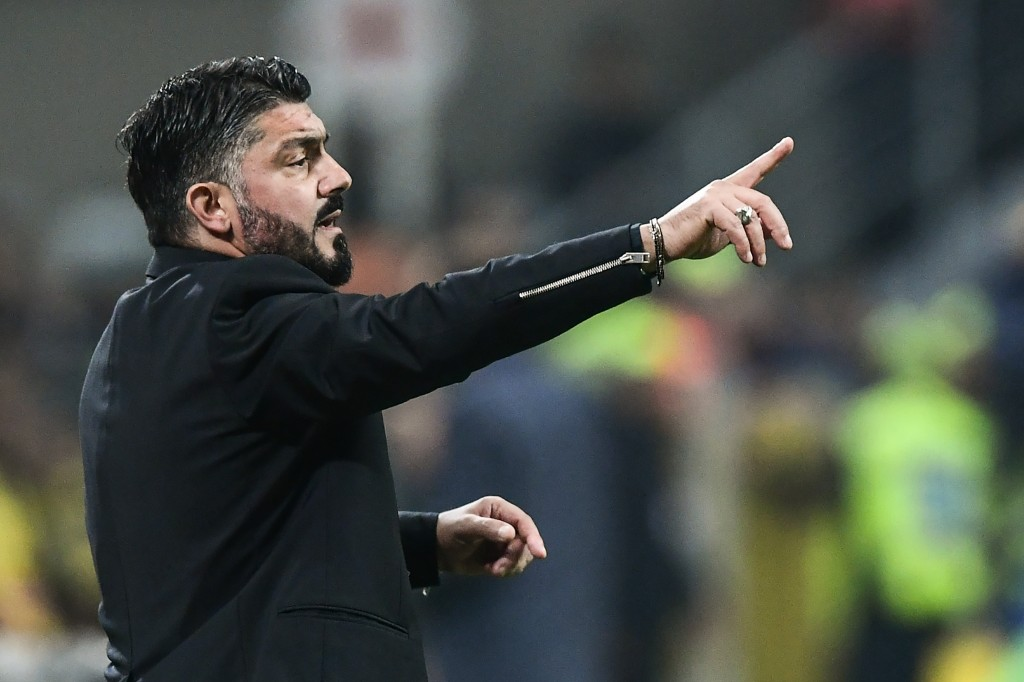 AC Milan's Italian coach Gennaro Gattuso gives oinstructions during the Italian Serie A football match AC Milan vs Juventus on November 11, 2018 at the San Siro stadium in Milan. (Photo by Miguel MEDINA / AFP) (Photo credit should read MIGUEL MEDINA/AFP/Getty Images)