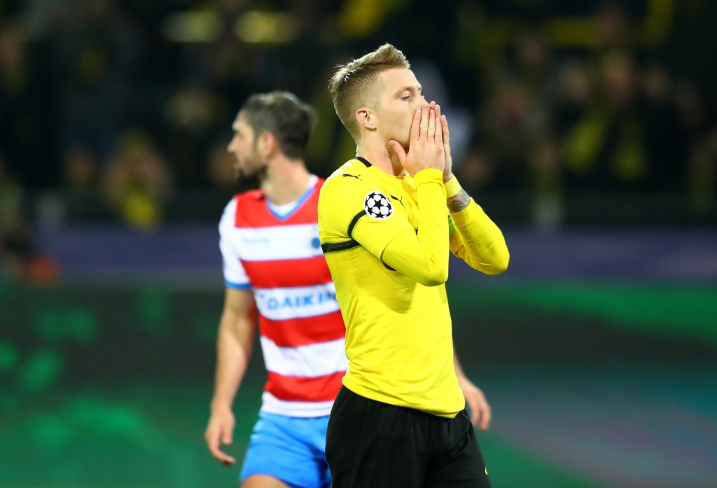 DORTMUND, GERMANY - NOVEMBER 28: Marco Reus of Borussia Dortmund reacts during the UEFA Champions League Group A match between Borussia Dortmund and Club Brugge at Signal Iduna Park on November 28, 2018 in Dortmund, Germany. (Photo by Martin Rose/Bongarts/Getty Images,)