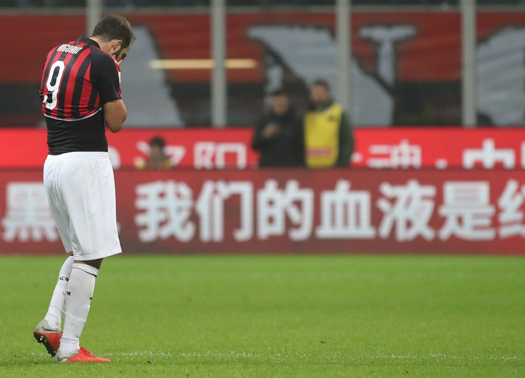 Higuain's absence will be a huge blow for Milan. (Photo by Marco Luzzani/Getty Images)