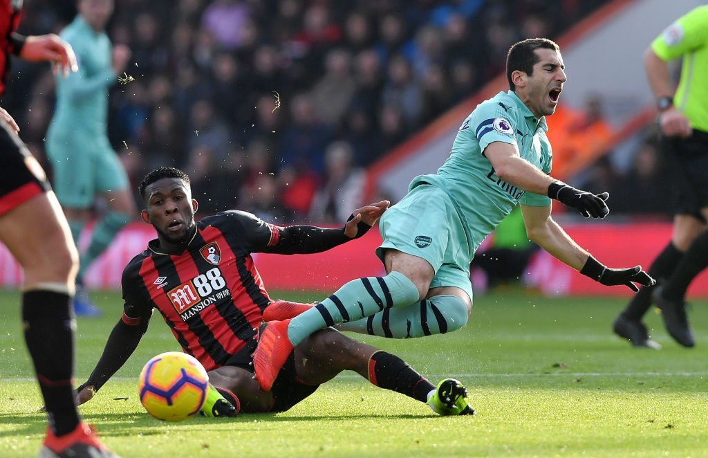 Jefferson Lerma scored an own goal and picked up a yellow card against Arsenal and is now suspended to face Man City. (Photo by Mike Hewitt/Getty Images)
